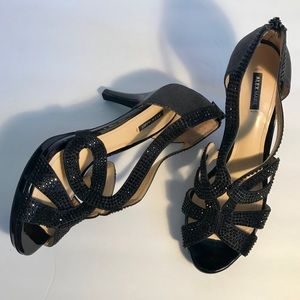 ALEX MARIE Dayten Black Rhinestone Glittery Heels